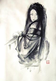 Japanese woman Geisha in kimono traditional Japanese sumi-e suibokuga ink painting via Etsy. Looks like the woman from memoirs of a geisha. Geisha Kunst, Geisha Art, Geisha Drawing, Japanese Ink Painting, Sumi E Painting, Woman Painting, Geisha Tattoos, Die Geisha, Tinta China