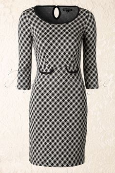 50s Tulip Wiggle Dress in Black and Cream - King Louie