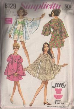 MOMSPatterns Vintage Sewing Patterns - Simplicity 8129 vintage 60's Sewing Pattern THE BEST Mod GoGo Angel Sleeve Tent Dress, HUGE Angel Sleeves, Made from Tableclothes!