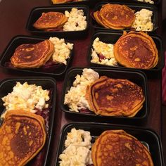 My King and I are set for this week!! We have protein pumpkin pancakes along with cheesy egg whites and maple turkey bacon for breakfast with sugar free syrup! I feel like when I have a big healthy breakfast I tend to snack less and feel full throughout the entire day. These pancakes are so amazing! Can't wait to get them in my belly!!! 2 cups pure pumpkin purée 2 scoops @mutantnation birthday cake protein 4 eggs 1 cup pancake mix 2 tsp baking powder 1 tsp  Pumpkin pie spice Pinch salt…