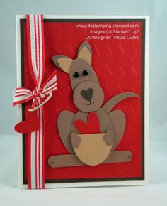 """Kangaroo LOVE card Punch List:5-Petal Flower = EarsLarge Oval = Head & LegsWide Oval = Body & Tail1"""" Circle = MouthHeart to Heart = Nose, Heart in Punch and """"tag""""Trio Flower = HandsWord Window = Feet"""