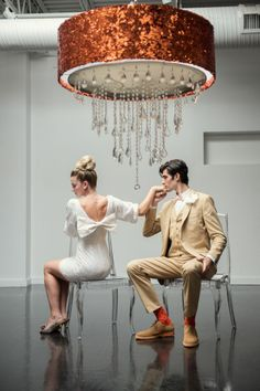 Custom Glitter & Crystal Drum Shade by Ryan Designs - Image: Carla Ten Eyck Styling: Beth Chapman Dock Wedding, Wedding Day, Striped Wedding, Couples In Love, White Lace, White Dress, Event Styling, Here Comes The Bride, Wedding Pictures