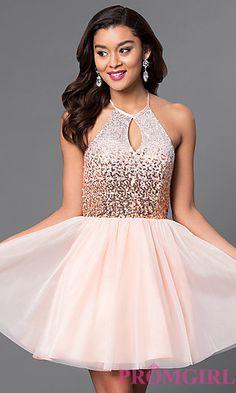 Short Keyhole Sequin-Bodice Halter Homecoming Dress at PromGirl.com