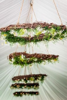 rustic green wedding wreath chandeliers