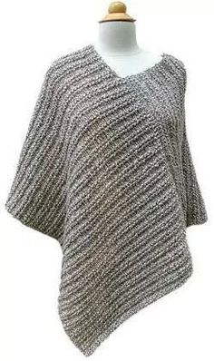 Crochet Poncho Amagansett Poncho PDF Pattern - Morehouse Farm - Classy by day or night, from the city out to the East End. Size: Adult Small, Medium, and Large Yarn: 8 skeins of Morehouse Merino choose 2 colors! Poncho Shawl, Knitted Poncho, Knitted Shawls, Crochet Scarves, Crochet Clothes, Grey Poncho, Knit Shrug, Capelet, Poncho Knitting Patterns