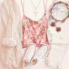 Love the light pink floral top, neutral cardigan, white converse, light acid washed jeans, diamond sunglasses, and a pink flower crown.