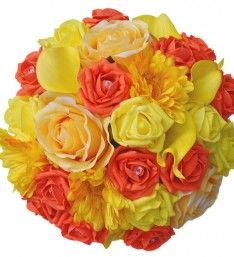 Wedding Flower Bouquet with Sunshine Yellow and Orange Roses