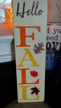 Fall Wood Sign Hello Fall Large Rustic Vertical Primitive Porch Sign Fall Decor | Home & Garden, Home Décor, Plaques & Signs | eBay!