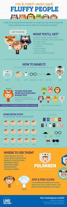Fluffy People Characters Design Vector Pack
