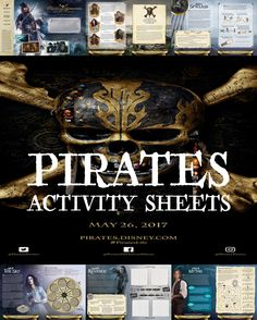 Pirates Of The Caribbean - Dead Men Tell No Tales - Pirate Activity Sheets - April Golightly Pirate Activities, Activities For Adults, Summer Activities For Kids, Summer Kids, Pirate Birthday, Pirate Theme, Pirate Party, 11th Birthday, Adult Crafts