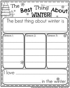 1st Grade Opinion Writing Prompt - The Best Thing About Winter
