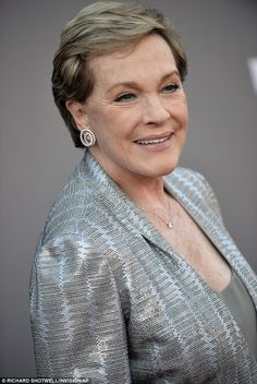 9-30-13.  Julie Andrews.   Well-groomed: Her short blonde hair was stylishly coiffed and she complemented her creamy complexion with nude lipgloss
