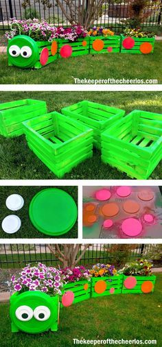 Caterpillar Crate Planter #jardines