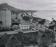 Waikiki Kalakaua Avenue 1956    Old news photo date-stamped 1956 looking Diamond Head along Kalakaua Avenue from the then new Princess Kaiulani Hotel. A wonderful vignette of life at the end of the territorial era.