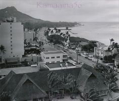 Waikiki Kalakaua Avenue 1956    Old news photo date-stamped 1956 looking Diamond Head along Kalakaua Avenue from the then new Princess Kaiulani Hotel. A wonderful vignette of life at the end of the territorial era.