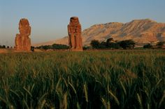 The Colossi of Memnon are two massive stone statues of Pharaoh Amenhotep III. Since 1350 BCE, they have stood in the Theban necropolis, across the River Nile from the modern city of Luxor. The original function of the Colossi was to stand guard at the entrance to Amenhotep's memorial temple (or mortuary temple): a massive construct built during the pharaoh's lifetime, where he was worshipped as a god-on-earth both before and after his departure from this world.