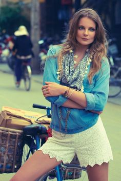 15 Stylish Ways to Wear Lace Shorts This Summer via Brit + Co.