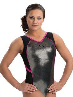 597fad8dd4d0 Silver and Black Under Armour Strength Gymnastics Leotard www.gkelite.com/ underarmour Gymnastics