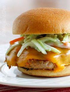 Skinny Buffalo Turkey Burgers with Blue Cheese Broccoli Slaw