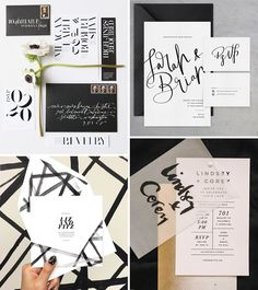 Chic monochrome wedding invites | The top 10 wedding stationery trends for 2016 | www.onefabday.com
