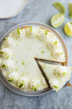 This easy Key Lime Cheesecake is a simple, no bake dessert that is perfect for Spring! It's sweet, tangy, creamy and so luscious! Made with fresh lime juice and zest. Spring Desserts, Fancy Desserts, No Bake Desserts, Dessert Recipes, Lime Desserts, Quick Dessert, Lime Cheesecake No Bake, Baked Cheesecake Recipe, Weight Watcher Desserts