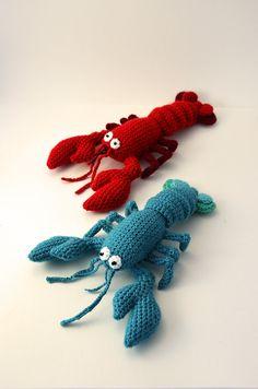 Blue Lobster Amigurumi Seafood Ocean by VliegendeHollander, vía etsy