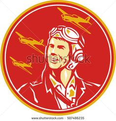 World War 2 Pilot Airman Fighter - Illustrations. Illustration of a world war two pilot airman aviator smiling looking to the side with fighter planes in the background set inside circle done in retro style. Tiger Illustration, Graphic Illustration, Retro Illustrations, Watercolor Illustration, Airplane Design, Freelance Illustrator, Retro Design, Graphic Design, Military Art