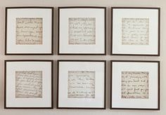 excerpts of old letters framed in a group