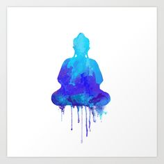 Watercolor+zen+Buddha+blue+Art+Print+by+Thubakabra+-+$18.72