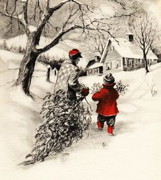 the last door down the hall: Vintage Christmas Tree Cards. Images Vintage, Vintage Christmas Images, Retro Christmas, Vintage Holiday, Country Christmas, Christmas Pictures, Vintage Cards, Antique Christmas, Vintage Christmas Decorating