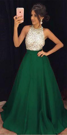 Ulass Green A-line Prom Dresses Long, Prom Dress, Evening Dresses, Formal Dresses, Graduation Party Dresses