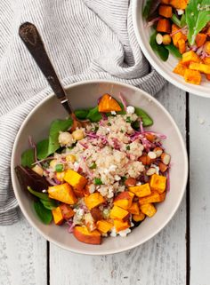 "Simple Sweet Potato Quinoa Bowls Recipe. I'm planning to try this to replace one of our ""standard"" salad lunches."