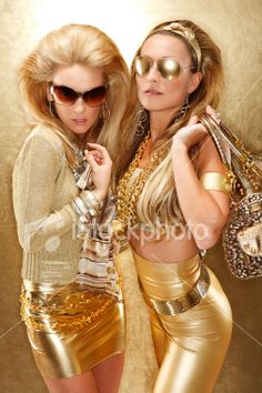 Two Young Women Dressed in All Gold Clothing Royalty Free Stock Photo Gold Fashion, High Fashion, Womens Fashion, Woman In Gold, Gold Outfit, Young Women, Royalty Free Stock Photos, Wonder Woman, Gold Clothing