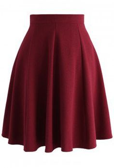 Closet Essential A-line Skirt in Wine - Retro, Indie and Unique Fashion
