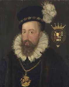 Portrait of Henry Stanley, 4th Earl of Derby, K.G. (1531-1593), bust-length, in a black slashed doublet with a lace-trimmed ruff and a fur-lined coat, wearing the Greater George and a black bejewelled hat with a plume