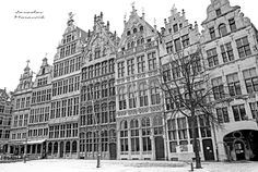 Historical buildings on square at city Antwerpen, Belgium Urban Photography, Buildings, Multi Story Building, City, City Photography, Cities