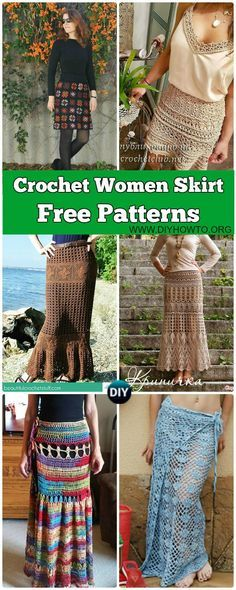 Collection of Crochet Women Skirt Free Patterns: Crochet Adult Skirts, Maxi Skirts, Lace Skirts, Beach Skirts, Wrap Skirts via @diyhowto