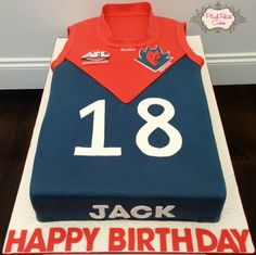 AFL Melbourne Demons Jersey Cake - www.plushpalatecakes.com.au/cake-creations/birthday-special-occasion-cakes