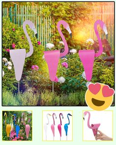 Add a welcoming touch to your garden or sidewalk with a beautifully designed flamingo. The bird creates a warm, inviting atmosphere during the day. Garden Crafts, Garden Projects, Projects To Try, Outdoor Projects, Fairy Crafts, Anniversary Gift For Friends, Garden Junk, Cool Gadgets To Buy, Yard Art