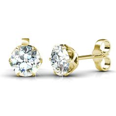 These diamond stud earrings feature a total of 0.25CT total weight of round cut diamonds set in a simple 14KT yellow gold setting that not only doesn't interfere with the sparkle of the I-J color and VS2-SI1 clarity diamonds within it, but actually enhances their presentation. Everlasting beauty and fashion characterizes the classic look that these diamond earrings will bring to any outfit. For formal or semi-formal occasions you cannot go wrong with the unfettered elegance of these amazing…