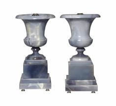A pair of blue-grey agate lamps, modern