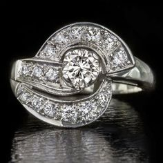 retro 1.20 carat diamond 14 karat white gold cocktail ring