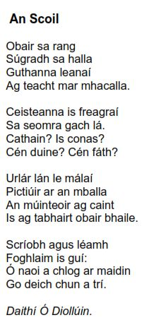 Back To School Poem, Irish Poems, Poems About School, Gaelic Words, Irish Language, 5th Class, Scottish Gaelic, Primary Teaching