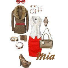 Armani pencil skirt, Vivienne Westwood blouse, Ribbon cardigan, TopShop bag, YSL pumps, Mango sunglasses, Guess watch & your choice of bracelets and earrings