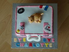 My 2nd cake - Farewell suitcase cake with a cat and a mouse