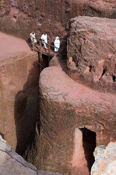 Pilgrims entering the Bet Mercurios rock church in Lalibela, Ethiopia