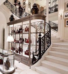 A display of handbags.