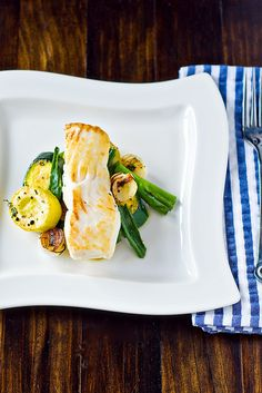 Seared Halibut With Summer Squash - spring onions or large scallions ...