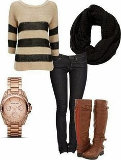 Brown and black lined sweater, black scarf, jeans, brown long boots and wrist watch combination for fall Fun and Fashion Blog