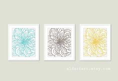 Modern Flower Art Prints  Flower Wall Art Print Set  by AldariArt, $30.00